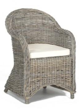 Comfortabele rotan stoel met armleuning en kussen for Tuinstoel rotan